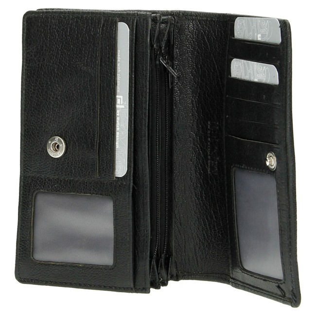 Dames leren portemonnee zwart