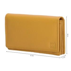 Dames leren portemonnee okergeel (02C301)