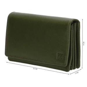 Dames leren portemonnee olijfgroen 02C301