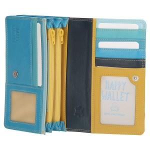 Happy Wallet dames portemonnee harmonica blauw