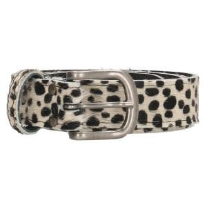 huidenriem 3 cm cheetah wit-zwart