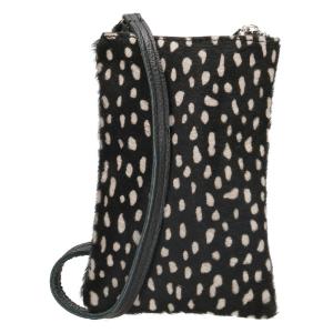 leren telefoontasje cheeta print zwart / wit